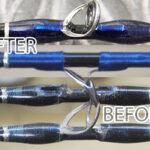 ツララ モンストロ73US (魚矢スペシャル) ガイド修理交換・・・こちらのスレッドは溶剤が染み込むと透けるタイプ。修理は下から上の時系列作業。